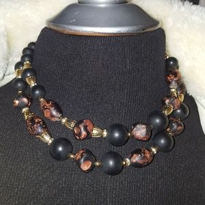 Jewelry - Vintage Stone? Black/Copper Double Strand Necklace